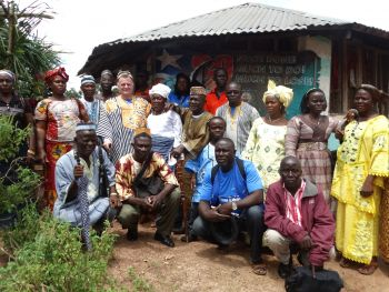 Mr. Ryan poses with traditional leaders in Suakoko District, Bong County